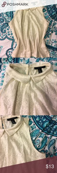 White lace blouse Adorable lace top with collar and a keyhole back Forever 21 Tops
