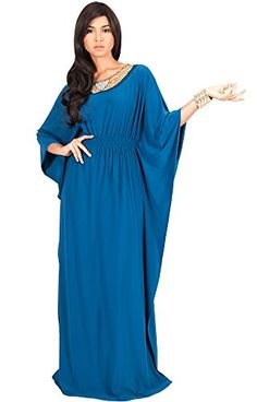 KOH KOH Womens Long Batwing Sleeve Beaded Necklace Cocktail Gown Designer Modest Muslim Arabic Party Evening Baby Shower Maternity Maxi Dress Color Blue Teal Size Extra Large XL 1416 2 ** Click image for more details.