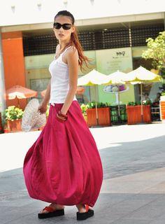 Romantic Rose Red Pretty Linen Bud Long Maxi por Sophiaclothing