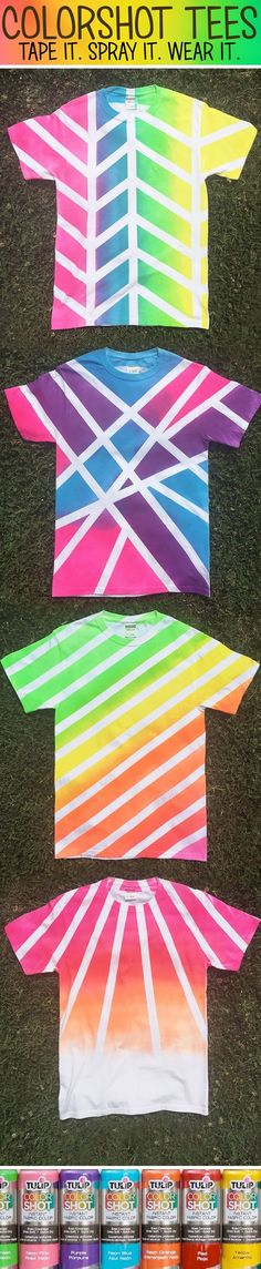 Cool shirts made with Tulip ColorShot and tape!