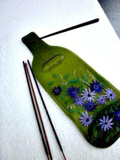 Incense Burner Melted Wine Bottle Hand Painted by GlassGaloreGal, $16.00