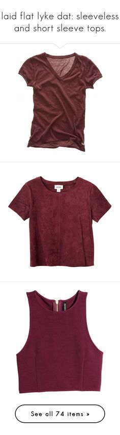 """""""laid flat lyke dat: sleeveless and short sleeve tops."""" by sinesnsingularities ❤ liked on Polyvore featuring tops, t-shirts, shirts, tees, abercrombie fitch shirts, abercrombie fitch t shirt, abercrombie fitch top, red tee, tee-shirt and cult wine"""