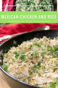 Mexican Chicken and Rice in one pot with green onions and cilantro--it ...