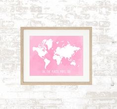 Watercolour Quote World Map Print - Oh, The Places You'll Go- Home Decor - Watercolor Print - Nursery Print