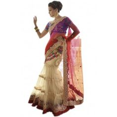 Shop Now - http://www.valehri.com/net-wedding-lehenga-saree-with-blouse