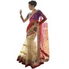 Shop Now - http://www.valehri.com/net-wedding-lehenga-saree-with-blouse