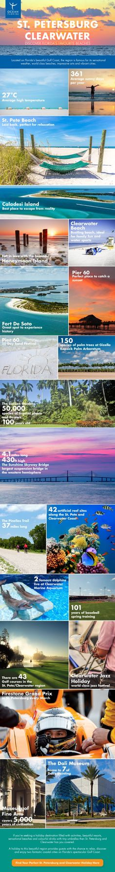 St. Petersburg and Clearwater: Discover Florida's Favourite Beaches #Infographics