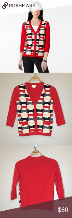 "Kate Spade Hilda Cardigan 3/4 Sleeves - Size XS Like new Kate Spade Hilda Cardigan in size XS. Red 3/4 sleeve button down Cardigan with red, black, white, and tan patterned front. Armpit to armpit: 16.25"" Length: 21.5"" Materials: 91% wool, 9% cashmere kate spade Sweaters Cardigans"