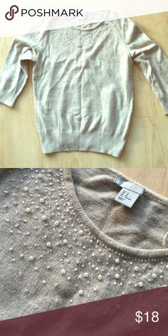 Hand beaded rabbit hair sweater from H&M Classic sweater with elegant details. Super soft rabbit hair, with sparkly beads at neckline. Dresses up skirts or jeans for a night out, or pair with a ball skirt for a formal event! H&M Sweaters Crew & Scoop Necks