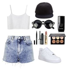 """""""Sem título #339"""" by boobear69-69 ❤ liked on Polyvore featuring beauty, Topshop, Monki, NIKE, Stila, Clinique and Chanel"""