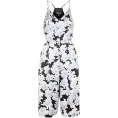 Silk Floral Print Culotte Jumpsuit by Topshop Reclaim (895 ZAR) ❤ liked on Polyvore featuring jumpsuits, multi, jumpsuits & rompers, silk jumpsuit, cut-off, jump suit and topshop