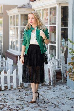 Asos Lace Skirt, Zara Vegan Leather Jacket www.thehuntercollector.com