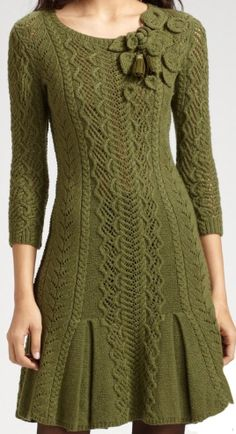 Gorgeous #knit #trellis #sweaterdress - worthy inspiration for a sweater. Though I think the rosette shoulder as is is overkill; something more subtle would be nice.