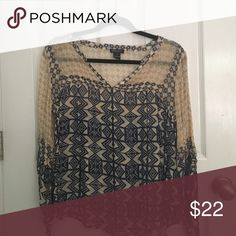 Lucky Brand Printed Blouse Never worn before, sheer light weight, white navy and green pattern, cinched sleeves, shallow V-neck Lucky Brand Tops Blouses