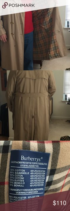 Burberry Men's Vintage Raincoat 44-46L Tan Burberry Vintage Men's Raincoat. Plaid lining. Interior and Exterior pockets and belt. Perfect condition. Size 44L-46L. Burberry Jackets & Coats Trench Coats