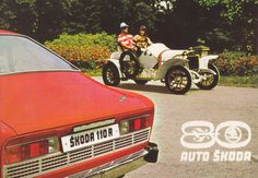 Advertising postcard celebrating the anniversary of Auto Škoda. Photo depicts the Škoda juxtaposed with an early model Škoda. Car Posters, Car Advertising, Antique Cars, Automobile, Anniversary, Trucks, Retro, Vehicles, Postcards