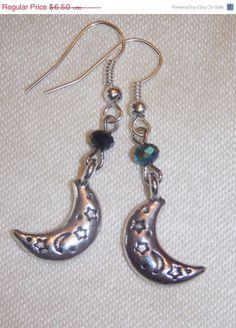 BLOWOUT SALE REDUCED Silver Moon Earrings by EriniJewel on Etsy, $4.55