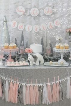 ideas for a stunning Winter Wonderland baby shower - . ideas for a stunning Winter Wonderland baby shower - . A snowflake is on the way Baby Shower Party Ideas Décoration Baby Shower, Fiesta Baby Shower, Baby Girl Shower Themes, Gender Neutral Baby Shower, Shower Party, Baby Shower Parties, Baby Girl Babyshower Themes, Themes For Baby Showers, Baby Shower Banners