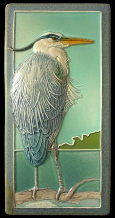 "Ceramic art tile, ""Taking it Easy"", great blue heron 4 in. x 8 in. The Heron is a fully detailed, sculpted decorative ceramic tile. It faces the Great Blue Heron desi Azulejos Art Nouveau, Art Nouveau Tiles, Art Deco, Blue Heron, Wall Sculptures, Sculpture Art, Ceramic Sculptures, Tuile, Tile Art"
