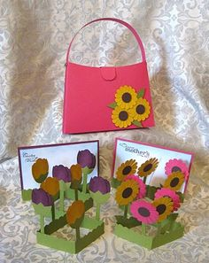 the pop up flower card and purse, never saw a card like this before....
