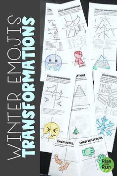 Practice geometric transformations with a fun winter emoji activity! Students translate, reflect, rotate, and dilate figures on the coordinate plane to create fun mystery pictures. Engaging and challenging for grade math or high school geometry. Fun Math Activities, Math Resources, Math Games, Geometric Transformations, Framed Words, Math Graphic Organizers, Math Word Problems, 8th Grade Math, High School