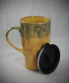 Ceramic Travel Mug with a lid by hopesndreams on Etsy, $24.00