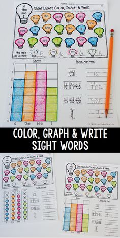 NO PREP Sight Word Graphing! Two different versions included! ALL DOLCH Pre-Primer, Primer and First Grade Words. Students find and color sight words, count how many, graph the total and practice writing each word. $