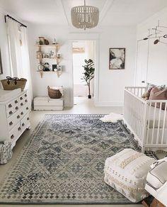 Boho gender neutral nursery farmhouse whitewalls whitedecor beadedchandelier vintagerug is part of Baby room decor -