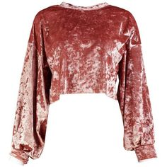 Boohoo Amy Velvet Balloon Sleeve Crop Sweat (110 PLN) ❤ liked on Polyvore featuring tops, hoodies, sweatshirts, reds jersey, off shoulder tops, cropped sweatshirt, cropped cami and bralet crop top