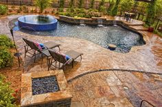 stamped concrete finish around the pool