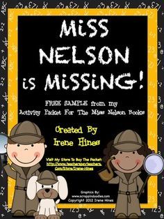 FREEBIE: A Free Sample ~ 6 pages from my Miss Nelson Is Missing Unit