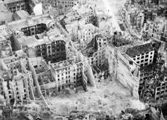 An aerial view of damaged buildings between Friedrich Hain and Lichtenberg, Berlin 1945