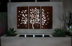 3 Piece Laser Cut Steel Garden Screen Tree and Leaf Design.