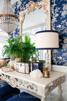 Blue Home Decor, White Decor, Cool Wallpaper, Pattern Wallpaper, Green Apartment, White Mirror, House Entrance, Entrance Foyer, Bedroom Layouts