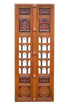 Pooja room door frame new Ideas Wooden Front Door Design, Double Door Design, Wooden Doors, Living Room Partition Design, Room Partition Designs, Pooja Room Door Design, Door Design Interior, Door Design Images, Pooja Rooms