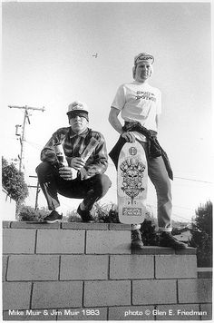 Brothers Mike Muir (from Suicidal Tendencies) and Jim Muir ( from the Dogtown skateboard team) for a Thrasher promotion, 1983. Picture by GLEN E. FRIEDMAN