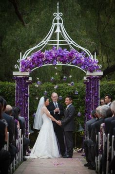 Purple Wedding Arch Decor. love it. would go perfect with my outdoors wedding!! :)