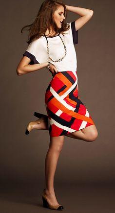 Ann Taylor Dolman Sleeve Top & Colorblocked Geo Print Pencil Skirt