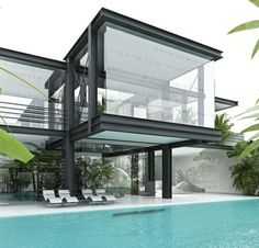 Amazing and Inspiring Modern Architecture. The style of modern architecture is a style of static architecture that developed in pre-industrial times as a form of revolution from traditional arc. Architecture Résidentielle, Beautiful Architecture, Contemporary Architecture, Building Design, Exterior Design, Modern Design, New Homes, Glass Houses, Glass House Design
