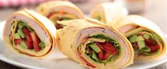 These healthy, simple wraps make the perfect finger food! For a bit more bite, drizzle the wraps with balsamic vinegar instead of plain oil. For more pieces cut the wraps into thirds or fourths, rather than just in half. Best Appetizers, Appetizer Recipes, Mini Wraps, Ham And Cheese Pinwheels, Avocado Wrap, Super Healthy Kids, Wrap Recipes, Easy Meals, Healthy Dinners