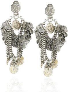 Erickson Beamon for Zac Posen Spring 2009 coin earrings as seen on Fergie from the Black Eyed Peas.