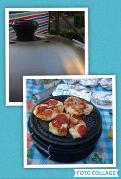 Zelfgemaakte pizza van de Cobb.  Vandaag een makkelijk dagje. Bij de pizzabakker van het camping restaurant  vers pizzadeeg gehaald.  De Cobb lekker opgestookt en de basisplaat met een beetje olijfolie ingevet . Het pizzadeeg ( ongeveer de grootte van een broodje) platgedrukt en op de plaat gelegd, daarna belegd met tomatensalsa en mozzarella, salami, ham, uien etc. Deksel erop en zo'n 10 - 12 minuten bakken.