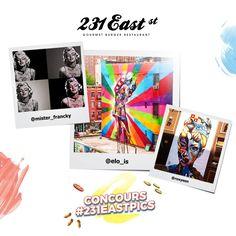 Patchwork de nos 1ers coups de cœur photos du WE ! Vous avez été inspirés, mais le concours n'est pas terminé ! Défiez vos amis et proposez votre version du beau dans l'esprit de 231 East Street, en photos sur votre compte Instagram avec @231eaststreet et #231EastPics !  A gagner : 1 voyage à New-York pour deux sur les traces d'Andy Warhol d'une valeur de 3500€ ! Jeu ouvert du 23 juin au 13 juillet 2016 ! Plus d'information ici : http://lartduburger.com/jouer