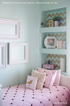 Cute Girls Room Decor Ideas - Modern and Classic Patterns for Painting Walls - Chevron Wall Stencils - Royal Design Studio