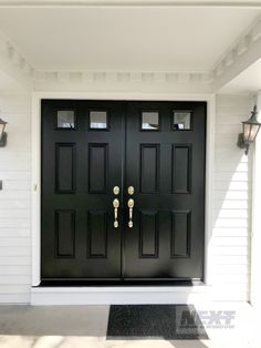 Ideas Double Door House Entrance Entryway For 2019 Double Front Entry Doors, Double Doors Exterior, Front Door Porch, Front Doors With Windows, Front Door Entrance, Door Entryway, House Entrance, Transom Windows, Entryway Ideas