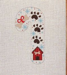 Danji /CH Designs Dog Theme Candy Cane Handpainted Needlepoint Canvas