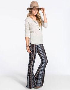 H.I.P. Vertical Ethnic Print Womens Flare Pants