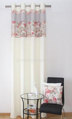 Dekorační krémový hotový závěs na okno s květinovým vzorem