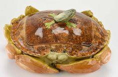English Majolica Crab Tureen