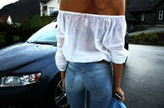 Pinterest @esib123  #style #inspo #fashion  off the shoulder top and high waisted jeans